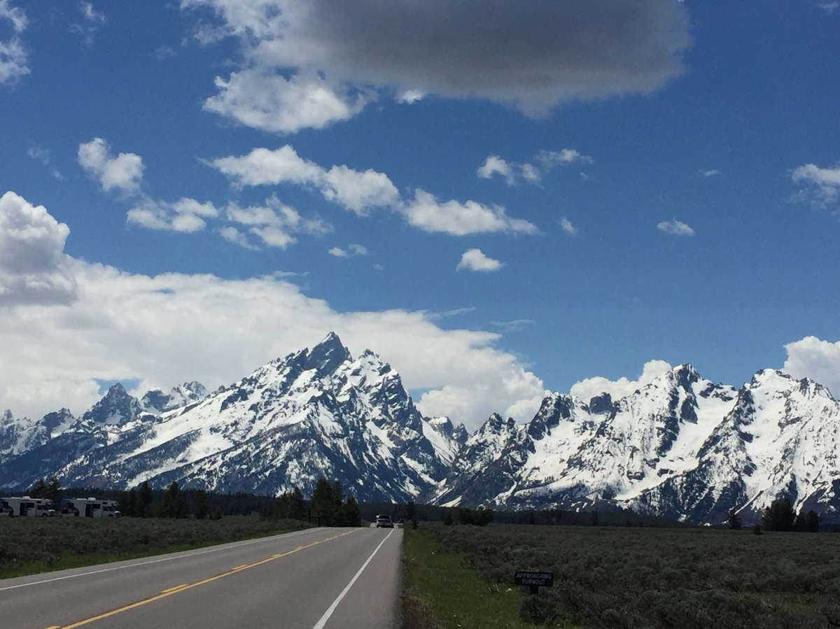 Picture of the Day:  Driving right at the Grand Teton mountains